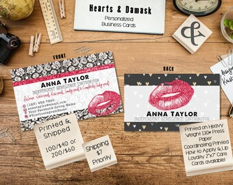 lipsense senegence business cards in hearts damask printed and shipped full color - Senegence Business Cards