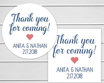 Thank You For Coming Labels, Favor Stickers, Event or Birthday Party Stickers (#397)