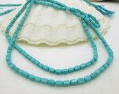 Sleeping Beauty Turquoise Tiny Rectangle Beads, Genuine Turquoise Bead, American Turquoise, 4x2.5mm (20)