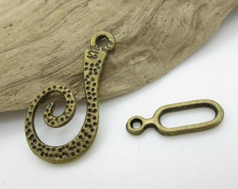 Large Bronze Clasp, Rustic Swirl Clasp, Necklace Clasp, 26mm, Connector 17mm (4)