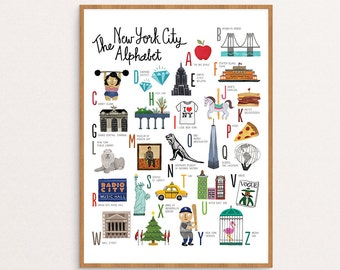 NEW! New York City Alphabet Art Print / Nursery Art / Wall Art / 11x14