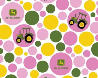 45'' Springs Creative Pink Tractor Polka Dot John Deere Flannel by the Yard 54816C470710
