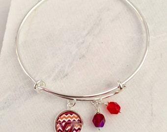 Virginia Tech Bracelet, Hokies, Maroon and Orange, Virginia Tech Gifts, Virginia Tech Jewelry, Game Day Jewelry, Game Day Bracelets