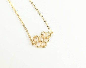 Gold Honeycomb Necklace, Beehive Necklace, Gold Hexagon Necklace, Gold Geometric Necklace, Gold Bee Hive Necklace