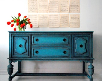 SOLD!!Jacobean sideboard in deep turquoise green!!