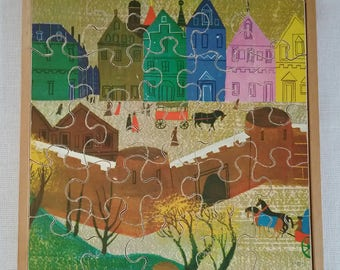 Vintage Wooden Jigsaw Puzzle Town Scene