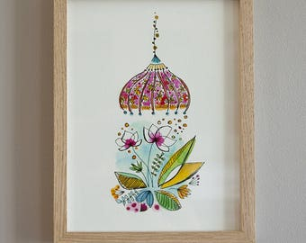 illustration Watercolour umbrella pink flowers and leaves on paper fine art