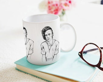 The 1975 Mug | Matty Healy Original Illustration | LIMITED Edition | Black and White | Can be Personalised | Ceramic White Mug