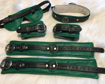 Beginner's Bondage Kit:  Padded - Green and White Leather Padded Restraints, Collar and Blindfold with Black Straps