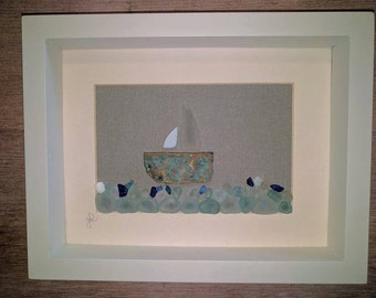 SEA GLASS BOAT ~ English Sea Glass ~ Brass ~ Verdigris ~ Seaside Art ~ Seaham ~