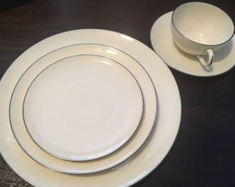 4 Sets of Olympia Platinum Lenox Dinnerware / 5 Piece Place Settings