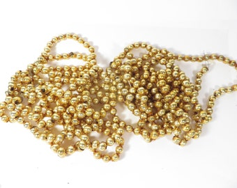 Set of 2 Gold Bead Garlands - Two Gold Glass Bead Strands