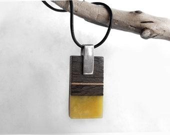 Stylish Rectangle Amber Pendant Necklace, Amber Wood Necklace, Black Leather Cord, Geometric Jewelry