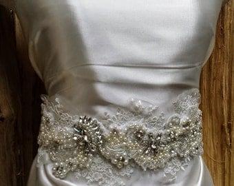 """The """"Annabelle"""" Bridal Sash; Nature Inspired Wedding Dress Sash; Rhinestone Bridal Sash; Beaded Lace Flower Sash; Unique Wedding Sash"""