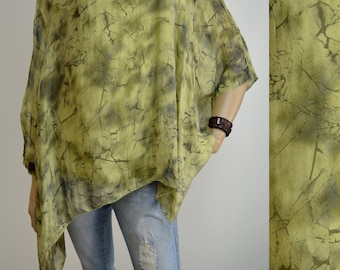 42 44 46 48 / 14 16 18 20 Italian 100% Silk Lagenlook Tunic Poncho 2Pc Top Spiderweb