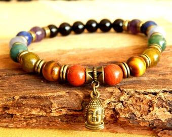 Man bracelet stone Buddha