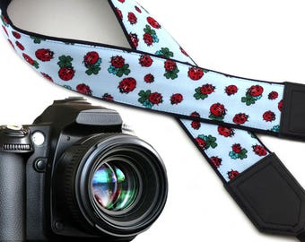 Ladybird camera strap with four leaf clovers. Light blue DSLR Camera Strap. Camera accessories by InTePro