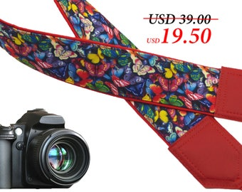 Camera strap with butterflies. Red DSLR / SLR Camera Strap. Camera accessories by InTePro