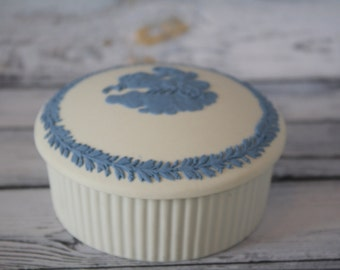Wedgwood White / Blue Jasperware Round Trinket Box