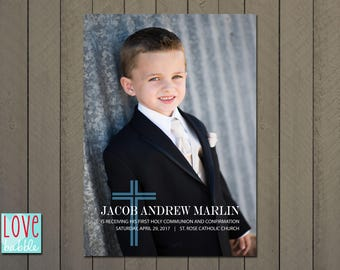 Baptism, Confirmation, First Holy Communion, Dedication Photo Invitation Announcement, with photo 5 x 7 PRINTABLE DIGITAL FILE