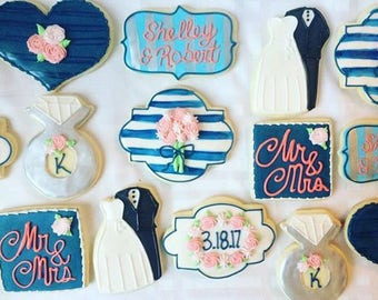 1 dozen customized wedding, bridal shower cookies!