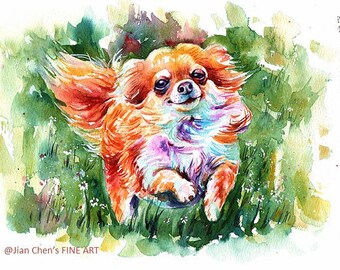 chihuahua (brown) - mounted original painting