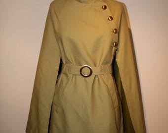 Vintage Cape Light Loden Green with Brass Buttons & 2 Pockets Belted Asymmetrical Closure   WildRosesVintage