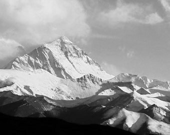 The Roof Of The World, Mount Everest And The Himalayas. Black & White Photography Picture, B And W Art Prints Framed / Unframed