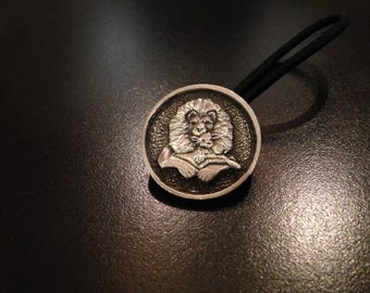 Hair Tie with Pewter Concho of the Lion and the Lamb