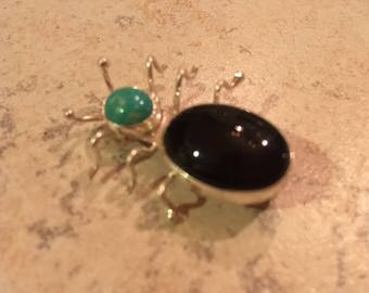 Sterling Silver Spider Brooch/Pin, Turquoise and Onyx -- Free Shipping
