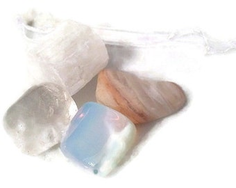 Yule Crystal Set, Yule Stones, Crystals for Yule, Snow White Quartz, White Mookaite, Clear Quartz, Rainbow Opal, Stone for Yule Solstice