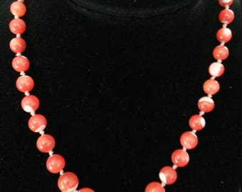 Vintage Hand Knotted Pink and White Enamel Beaded Choker With Gold Fishhook Clasp