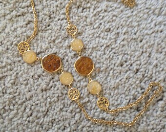 Vintage Yellow Gold Tone Designer Signed Sarah Coventry Round Line Link Necklace with Cream and Gold Stones