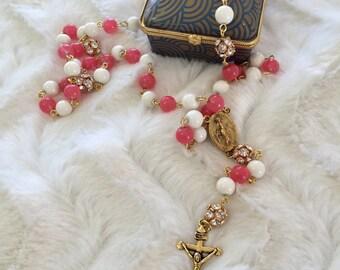 Handmade Rosaries /Pink and Beige Rosaries / Christmas Rosaries  / Rosarios de Cristal