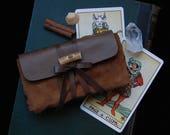 brown tarot bag • upcycled leather tarot case - tarot pouch - tarot card case - tarot card holder - tarot card bag - tarot deck case