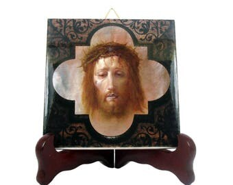 Veil of Veronica - christian gifts - christian icon on tile - Holy Face of Jesus - catholic gifts - christian decor - christian icons