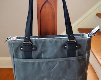SALE / Waxed Canvas Diaper Bag / Zip Tote