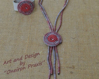 Boho long necklace-handmade statement necklace-fiber art jewelry-lariat long necklace-eco friendly