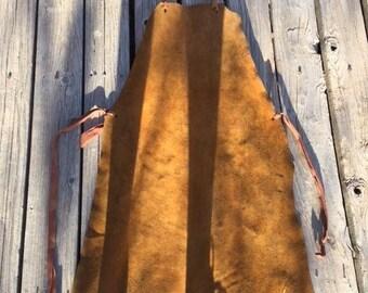 Vintage Suede Leather Shop Apron