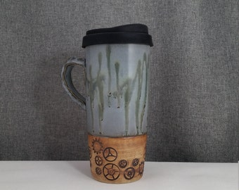Made to Order (up to 3 weeks) ** Ceramic Travel mug / Commuter mug with silicone lid - Sage Blue / Cogs