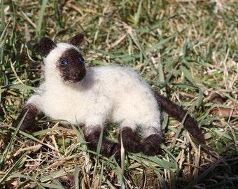 Needle Felted Siamese Cat