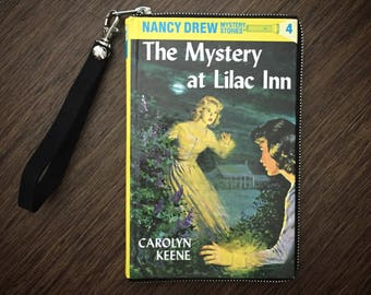 """Book Purse """"Nancy Drew: The Mystery at Lilac Inn"""" by Carolyn Keene Clutch/Zipper Wallet & Wristlet Attachment, Vintage Hardcover Book"""