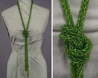 Iridescent Green Vintage 20s Glass Bead Lariat Necklace Flapper Era