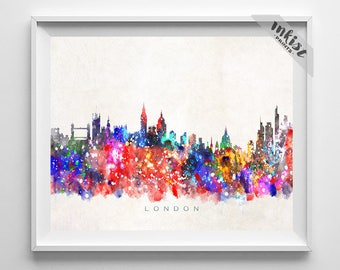 London Skyline, Print, England Print, London Art, Cityscape, City Skyline, Wall Art, Giclee Art, Home Decor, Wall Decor, Dorm Decor