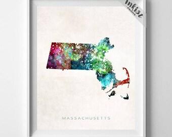Massachusetts Map Print, Boston Print, MA Poster, Boston Map, State Art, Giclee Art, Map Print, Traveler, Dorm Decor, Christmas Gift