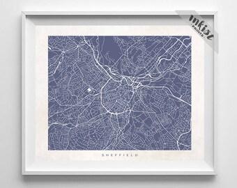Sheffield Map, England Print, Sheffield Poster, England Art, Office Decor, Nursery Posters, Modern Decor, Dorm Decor, 4th of July