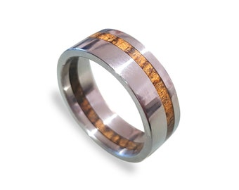 Mens Wedding Band, Titanium Ring inlaid with Bocote wood, Off-Center Style, Inside Bocote Inlay, Mens Ring, Womens Ring