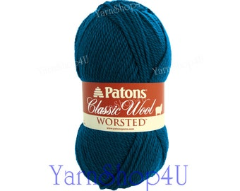PEACOCK Patons Classic Wool yarn, Dark Teal wool yarn, worsted weight, medium 4 pure wool, blue wool yarn Patons Wool, Teal felt wool yarn
