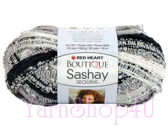 PANDA SASHAY SEQUINS, Red Heart Sashay, black & white Sequin yarn, Ruffle yarn, Fluffy scarf yarn. Fancy Scarf with sequins