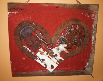 Chained Heart - barn wood, steampunk, upcycled, recycled, found object assemblage heart